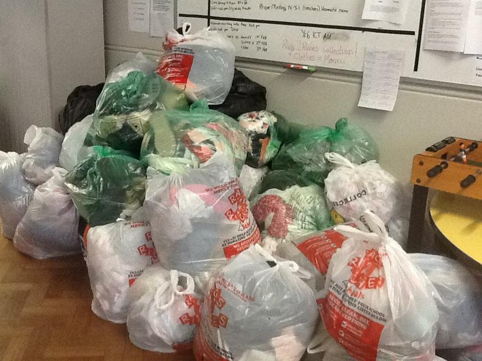 Bags of clothes to be recycled.