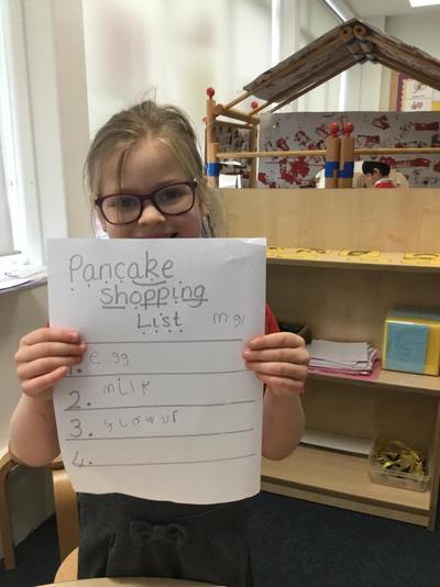 A pancake shopping list!