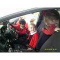 Having fun in the police car!