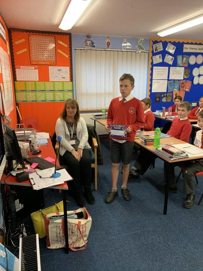 Josh receiving this weeks teachers award on behalf of the whole class