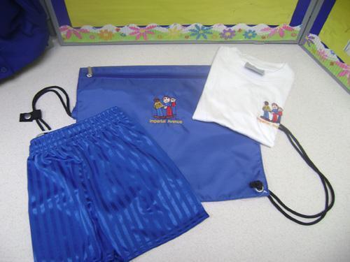 P.E Kit includes shorts, t-shirt & Bag