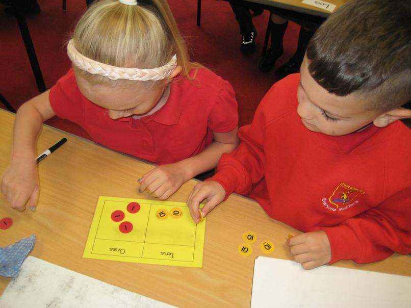 using place value counters in maths