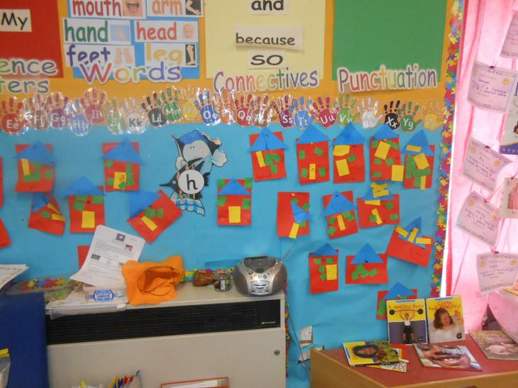 Letters and sounds display, h for house.