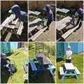 Dominic revamping a picnic table