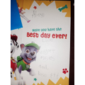 Rose wrote in this card for her little cousin.