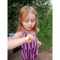 Holly has found a ladybird.