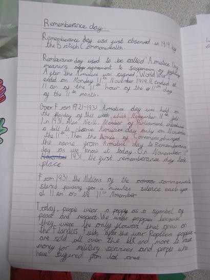 A piece of extra homework about Remembrance Day