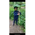 Theo found a giant leaf!