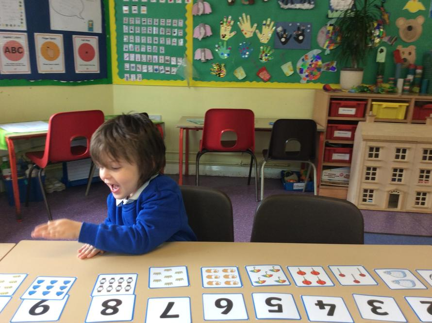 I have been working on matching the number to the quantity.