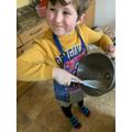 Ewan making fortune cookies
