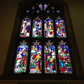 Stain glass window showing life of John the Baptis