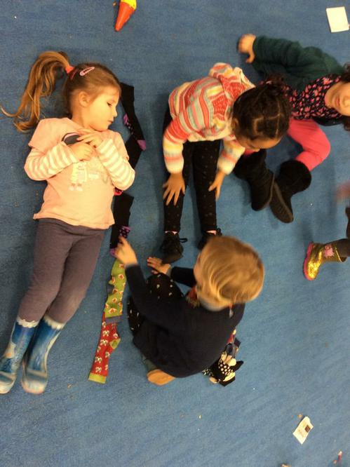 Using socks to measure length.