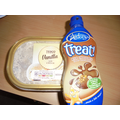 Ice cream & chocolate sauce. Mmmmm!