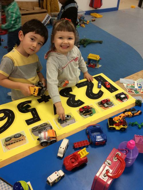 Cars and number tracks.
