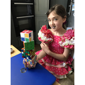 Amber doing cubed numbers with cubes