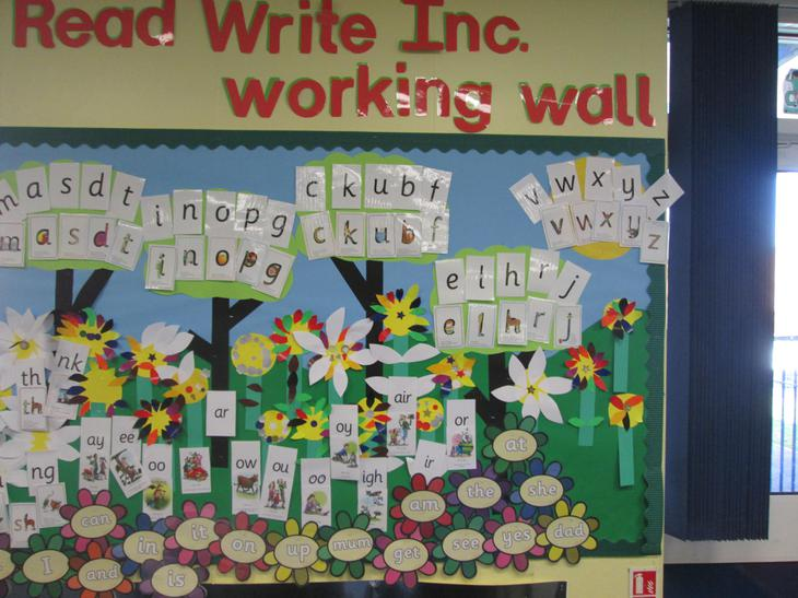 Our finished phonics wall.