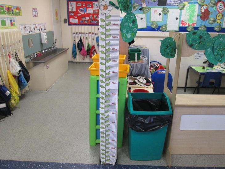 Measuring our heights.