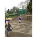 Three laps around the school...