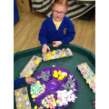 We made patterns with Easter items