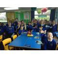 Enjoying our lovely cakes!