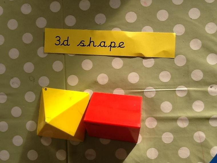 We have been naming 3D shapes and talking about their properties.