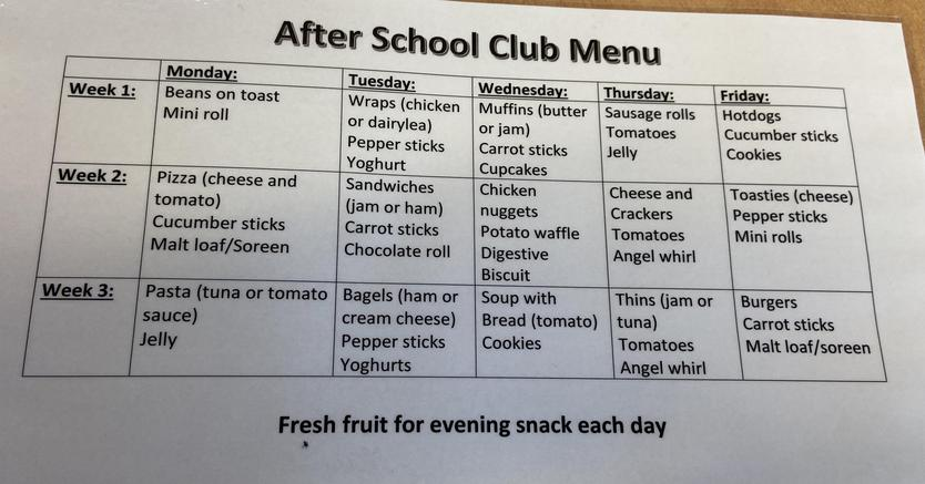 After School Club Snack Menu