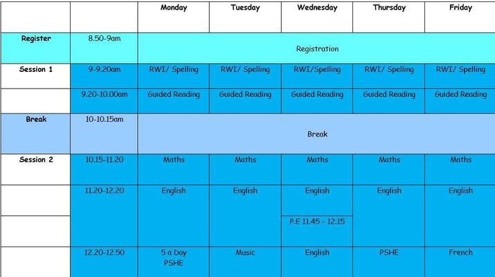 Moonstone Class Timetable