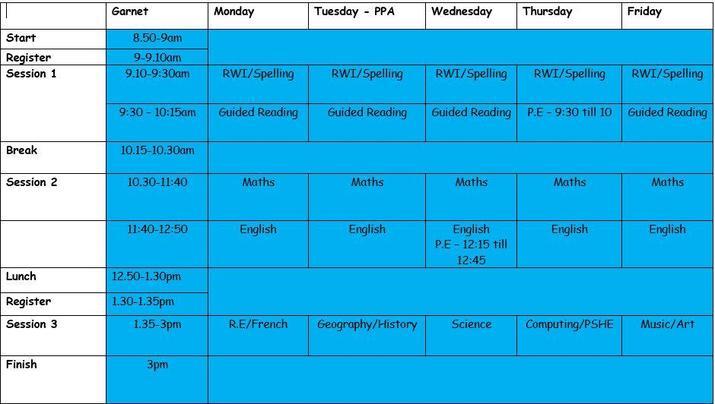 Garnet Class Timetable