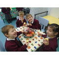 Sharing smiles at snack time