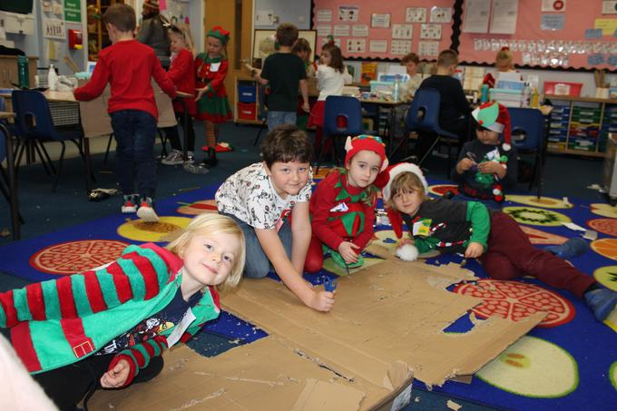 Class 2 in Santa's workshop making toys