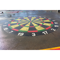 A Dart board to practice target throwing and addition skills
