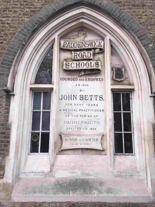 Plaque on front of John Betts School