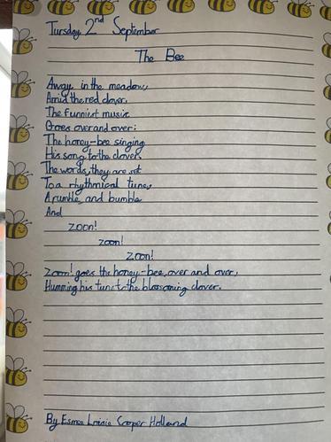 The Bees' Knees Positive Weekly Reward Display - Sample Of John Blow Handwriting