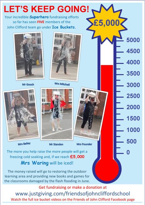 Image of staff being iced and total amount raised