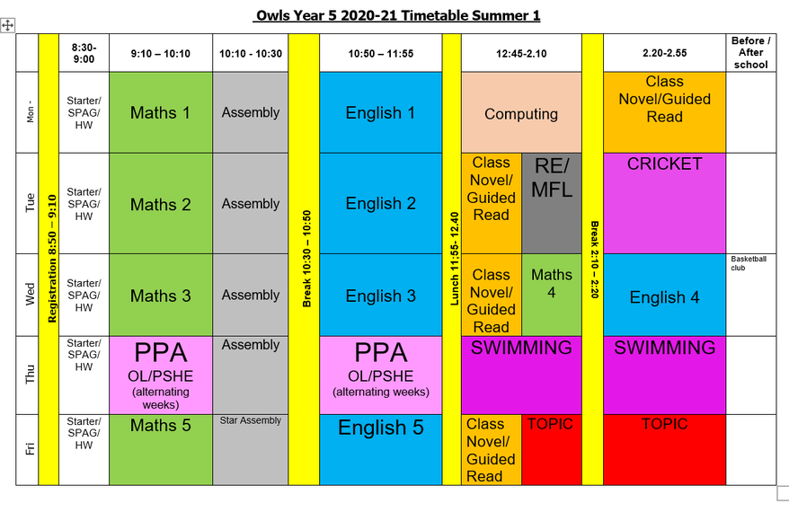 Y5 Owls Provisional Timetable