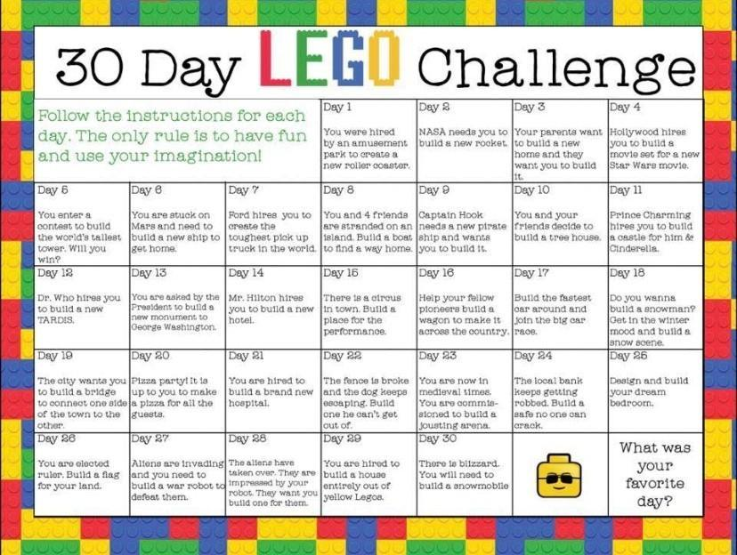 Lots more Lego challenges on this website.