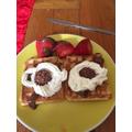 Jasmine made waffles for her mum's birthday!