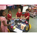 We have been making play dough.