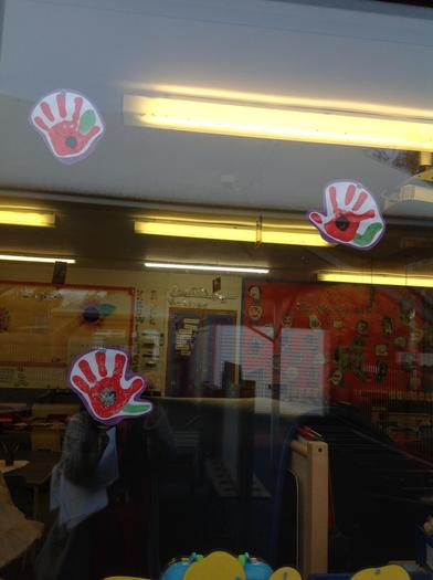 Poppies displayed around the school.