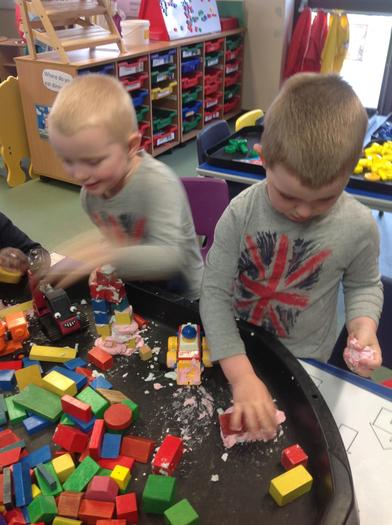 Building a palace, mixing the cement.