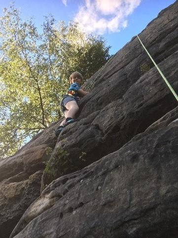 Leo's first try at outdoor rock climbing