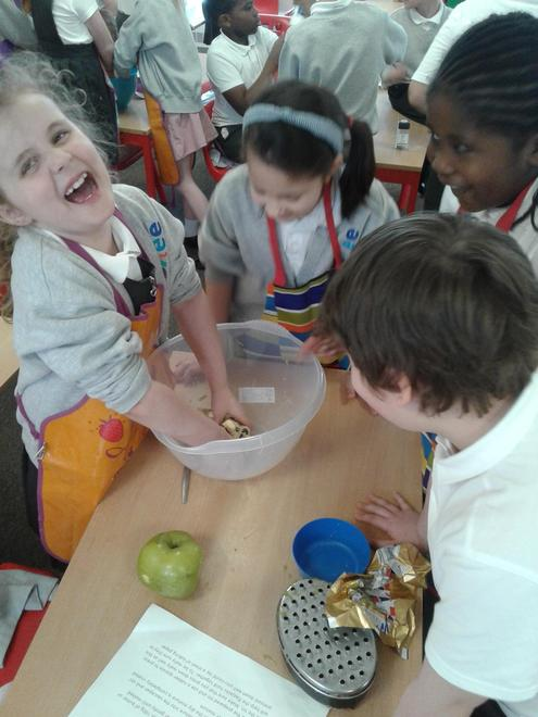 One of the topic teams making their healthy snacks. Some children didn't like the feeling