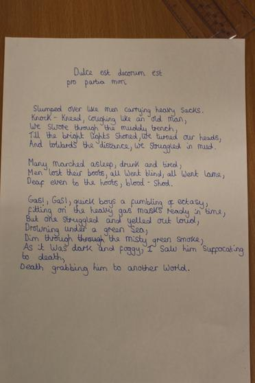Based on Dulce Et Decorum Est by Wilfred Owen