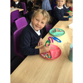 Sorting colours and practicing fine motor skills