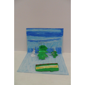 We used oil pastels to draw in the scenery...