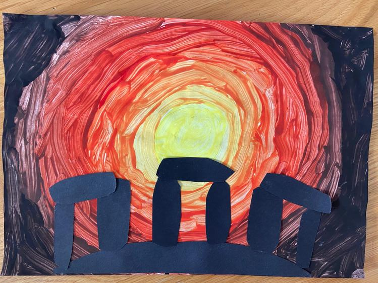 'Stonehenge Silhouette Art', Summer, Class 4