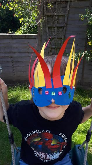 'Feather Carnival Mask', Toby H, Class 1