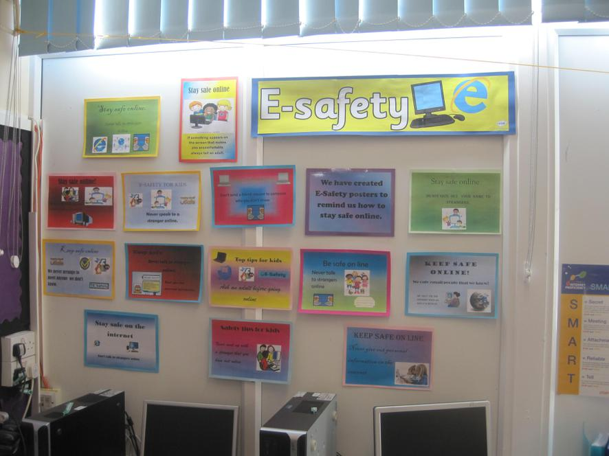 Class 3 designed e-Safety posters.