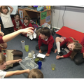 We looked at how much water had dripped into the cups.
