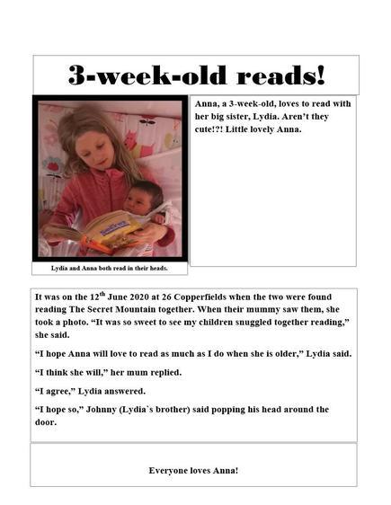 'Newspaper Report', Lydia, Class 3
